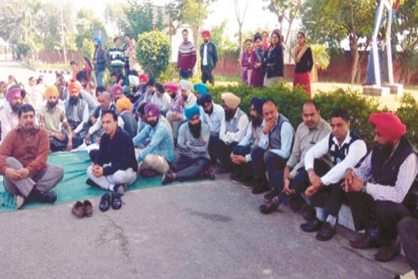 iet bhadal college staff planted dharna