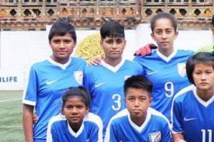 indian under 15 women  s football team defeated bhutan