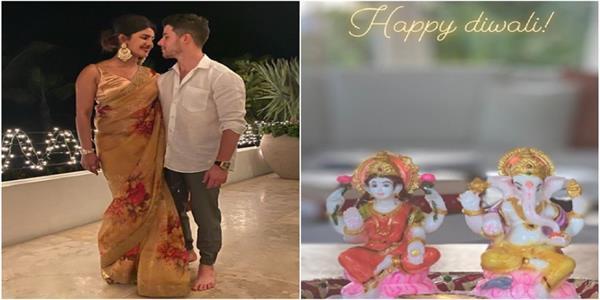 priyanka chopra rings in first diwali  with hubby nick jonas