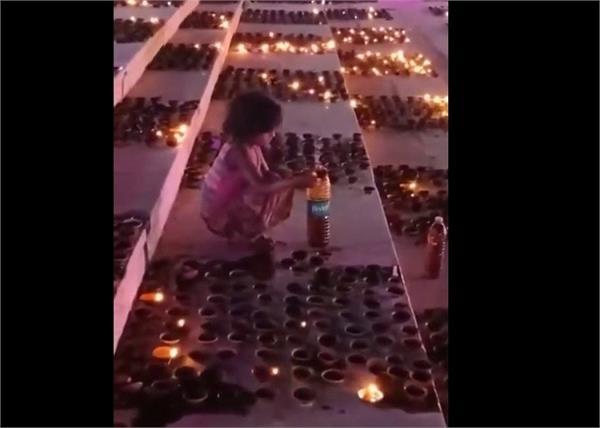 country ayodhya child diwali lamp oil