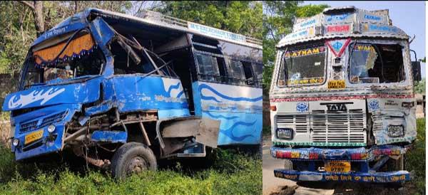 bus and truck collision  10 injured
