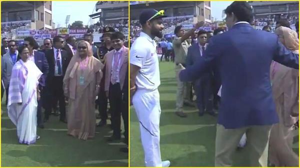 sheikh hasina meets india bangladesh players ahead pink ball test in kolkata