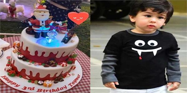 taimur ali khan cuts the christmas themed cake on his 3rd birthday