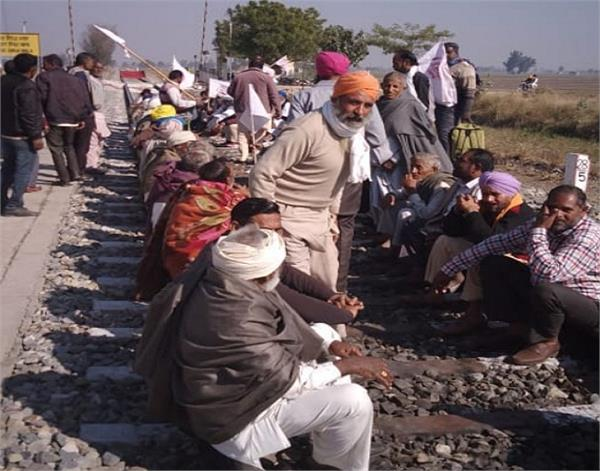 kisan  railway tracks  dharna