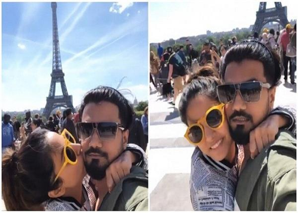 hina khan and rocky jaiswal spend some romantic moments in paris