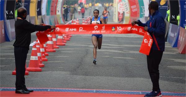 ethiopia s andamlak belihu won the tcs world 10k run