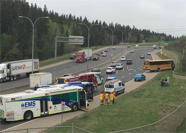 11 children and driver injured in edmonton accident with school bus