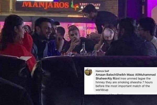 pakistani cricketer was wearing a hookah late night party a day before the match