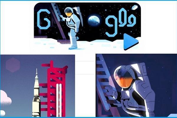 google doodle celebrates 50 years of moon landing