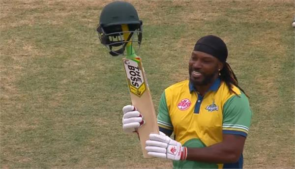 universe boss chris gayle smashes first century of global t20 canada 2019