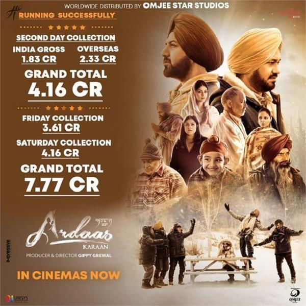 2nd day box office collection ardaas karaan
