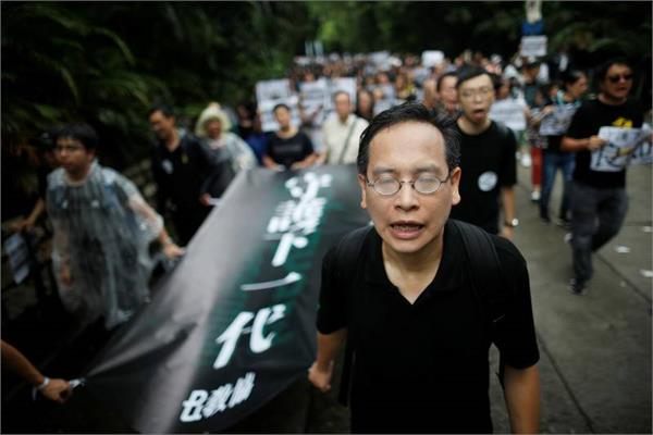 anti government rally of teachers in hong kong