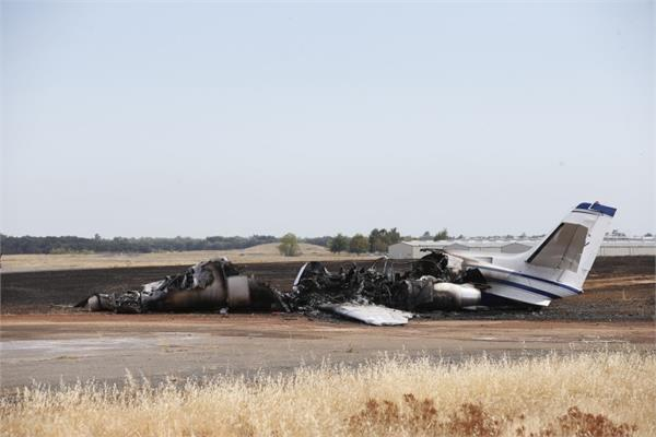 fire in a jet in northern california  passenger safe