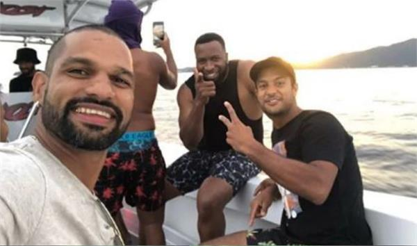 shikhar dhawan and many others hung out with kieron pollard in port of spain