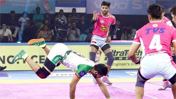 pro kabaddi league  patna defeated jaipur 36 33
