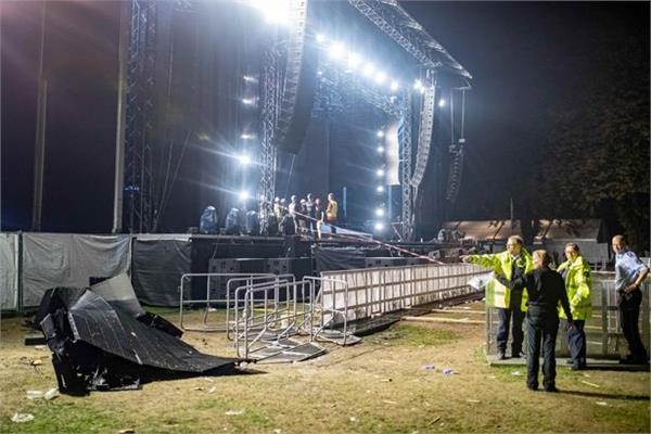 huge screen collapses rap concert germany