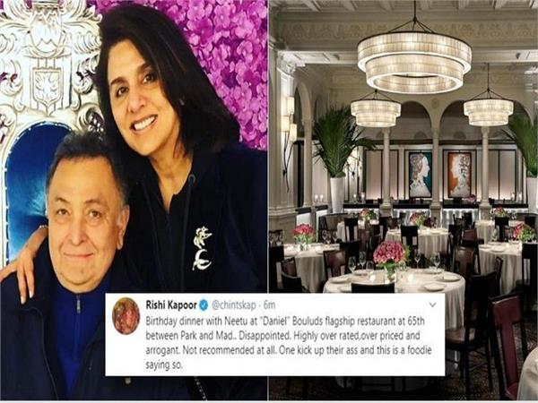 rishi kapoor posts scathing review of restaurant after bad birthday dinner