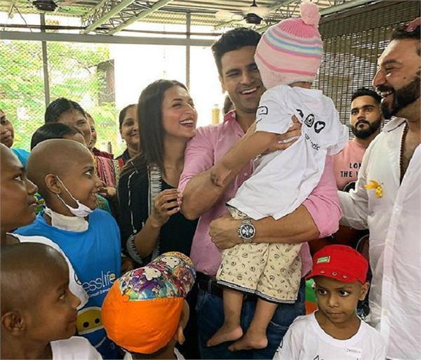 divyanka tripathi   vivek dahiya spend time at a cancer shelter
