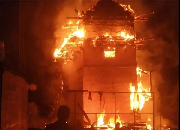 kullu temple caught fire