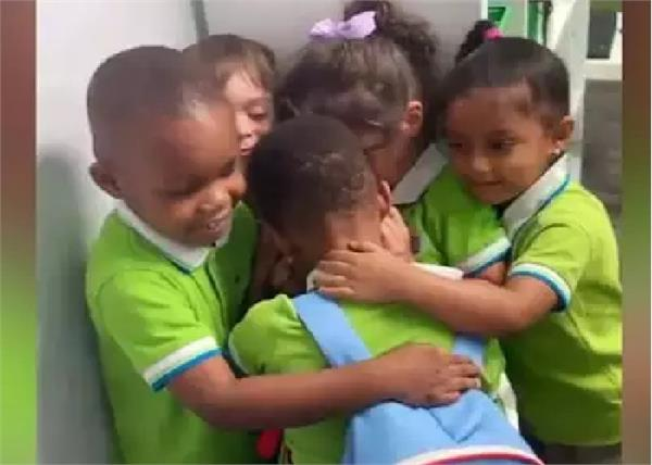 the school children welcomed their friend as they survived the storm