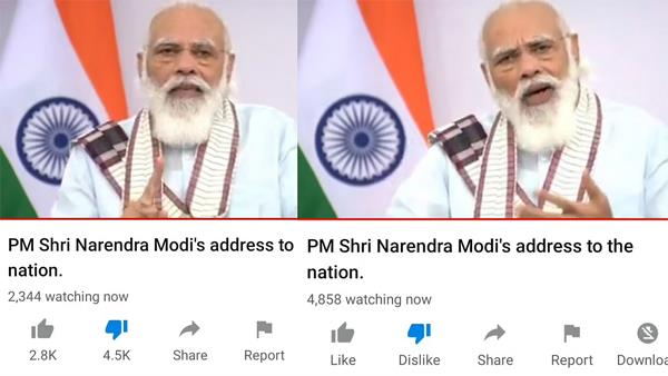 bjp turns off dislike button on youtube channel amid pm modi s address