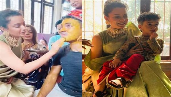 kangana ranaut applies haldi on brother aksht  s face for his