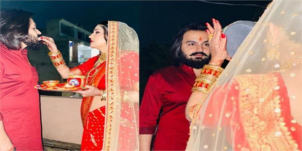 sapna choudhary and veer sahu karwa chauth pictures viral on social media