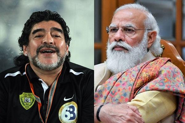 diego maradona  death  narendra modi  grief