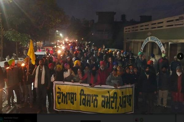 various organizations and farmers against agricultural laws in tanda