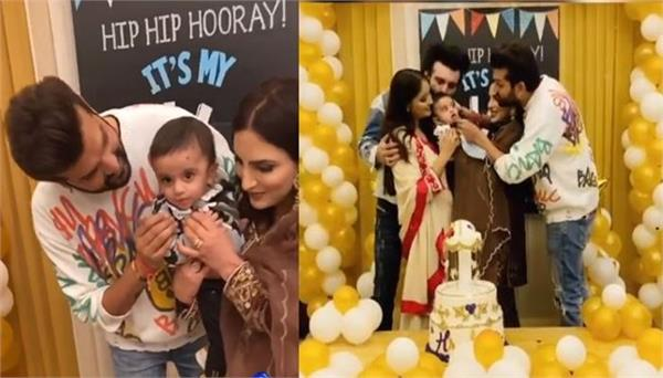 yuvraj and mansi celebrated their son hredaan six month birthday