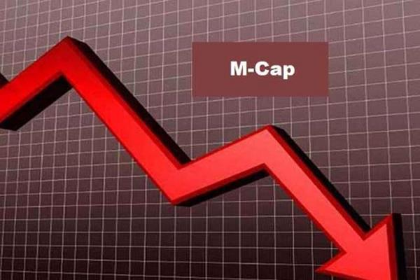 the market capitalization of five of the top 10 sensex companies fell