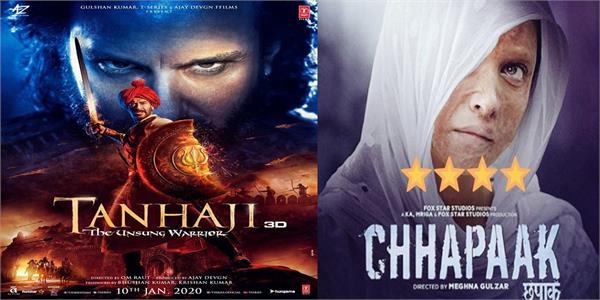 box office tanhaji the unsung warrior chhapaak