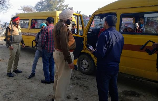 police check school buses  cut challan
