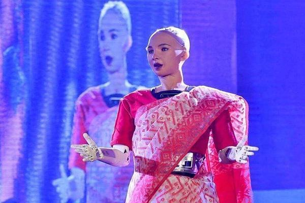 sophia the robot channels her inner bengali in a red saree in kolkata