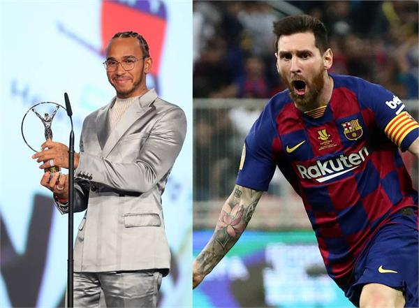lionel messi lewis hamilton gets world laureus 20 sportsman of the year