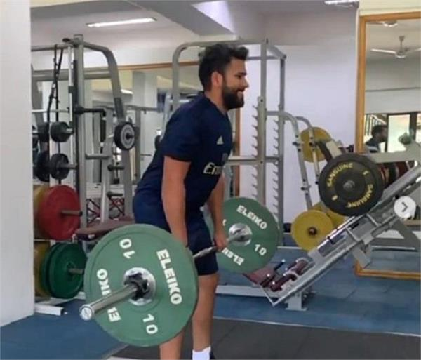 rohit is sweating in the gym after recovering his calf muscle injury video
