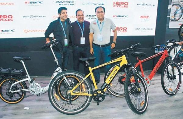 hero cycles showcases foldable electric bike at auto expo