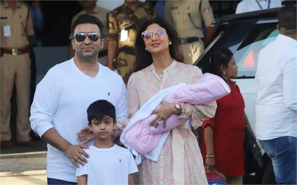 shilpa shetty and raj kundra spotted with baby samisha for the first time