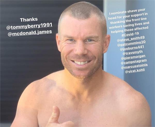warner shaves head in support of doctors battling corona