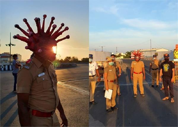 covid 19 police wear a helmet