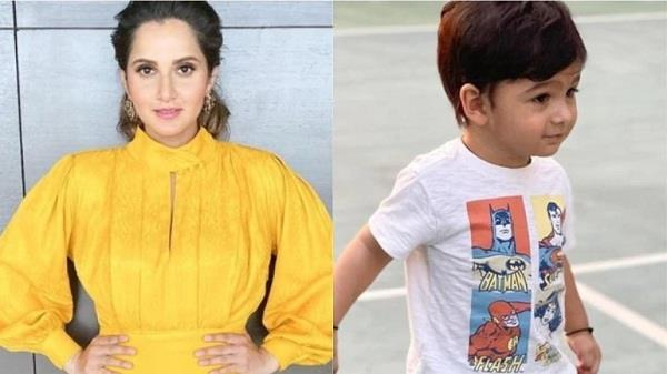 sania mirza shared a photo of her son playing tennis