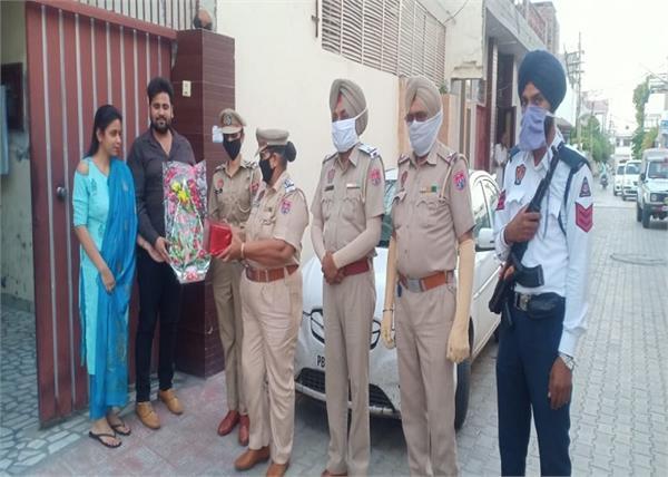 moga police  marriage anniversary  surprise