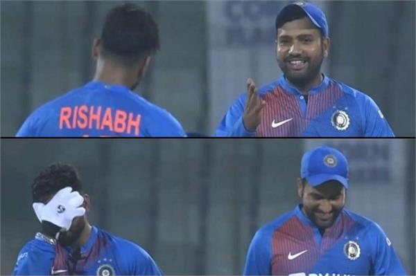 rohit angry after challenged of a long hit by pant