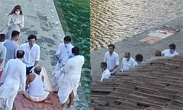 rishi kapoor s ashes immersed by ranbir kapoor at banganga