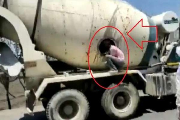 lockdown people hiding in cement mixer truck travelling lucknow