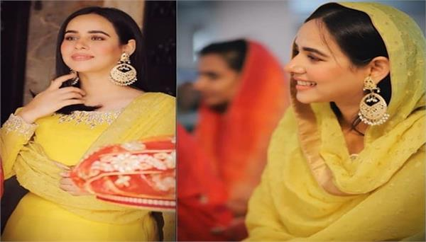 sunanda sharma shares her new pictures in punjabi yellow suit