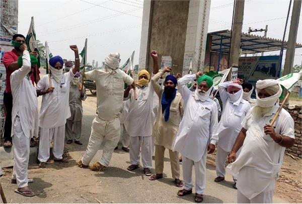 indian farmers union protest against punjab   center govt