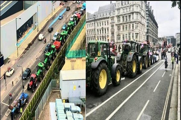 farmers protest with tractors central london