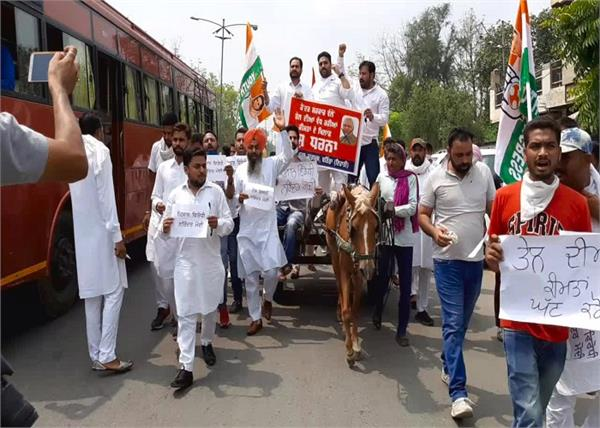 youth congress party central government demonstration bathinda