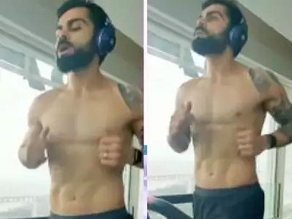 kohli  s workout video  six pack shown